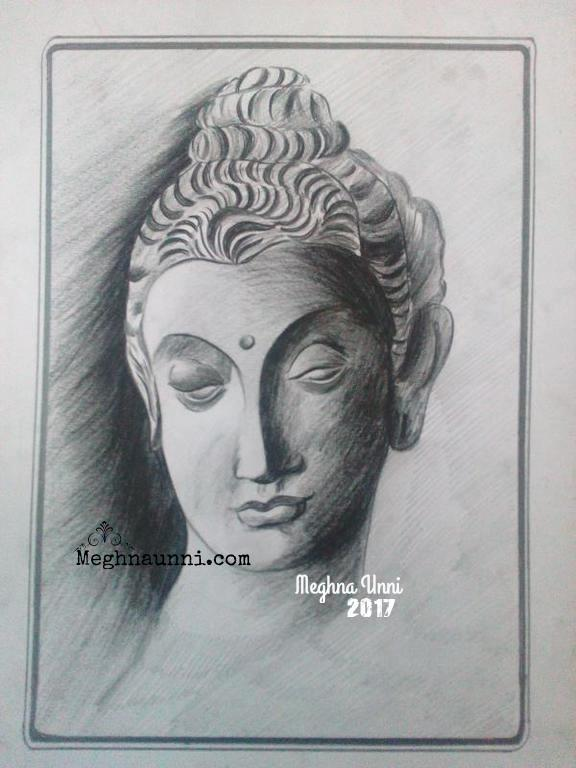 Buddha face pencil shading work done by me in the drawing class almost completed with pencil shading returning to acrylic work