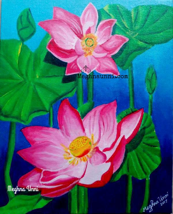 Lotus Painting Acrylic On Canvas Board