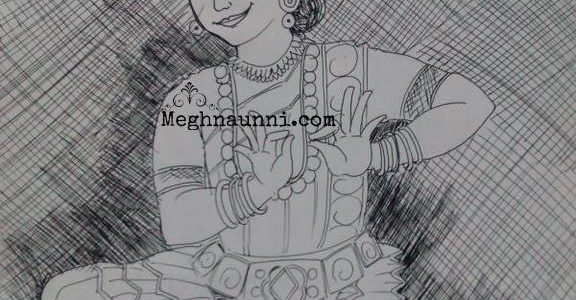 Mohiniyattom Dancer Pen Drawing