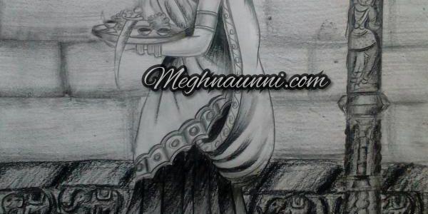 Royal Lady Visiting Temple Pencil Shading Work