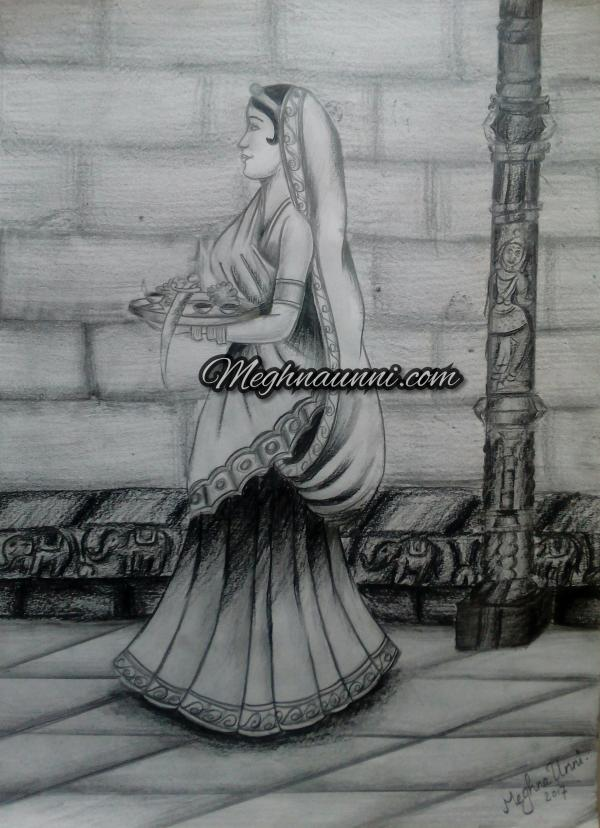 Royal Lady Visiting Temple Pencil Shading Work