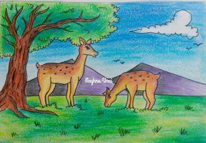 Deer Grazing Drawing Using Plastic Crayons