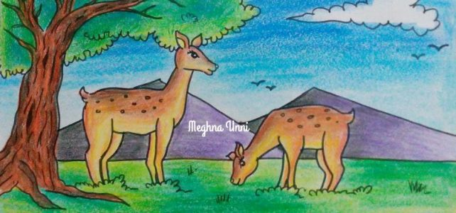 Deer Grazing Drawing Using Plastic Crayons