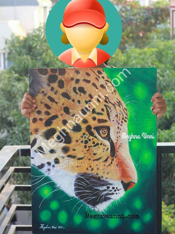 """Leopard Face"" Acrylic on Canvas Painting by Meghna Unni"