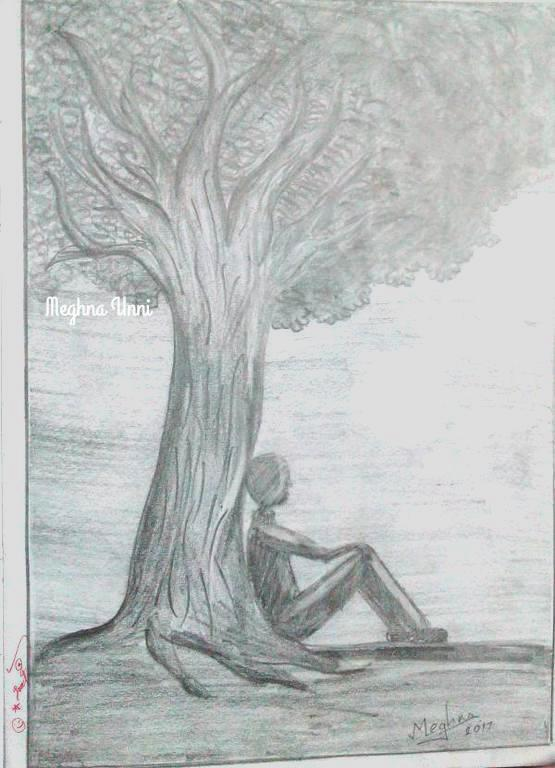 Lonely Man Pencil Sketch for Class 8 Art Book