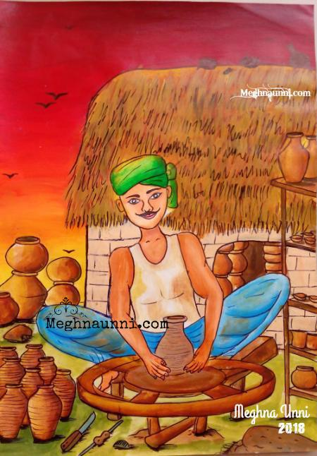 Potters Wheel Painting by Meghna Unni
