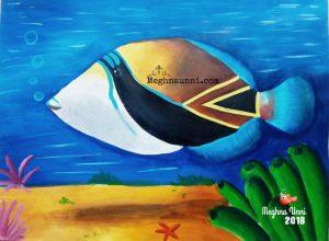 Fish Art : Reef Triggerfish or Humuhumunukunukuāpuaʻa