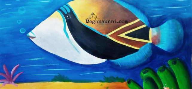 Fish Art : Reef Triggerfish or Humuhumunukunukuāpuaʻa