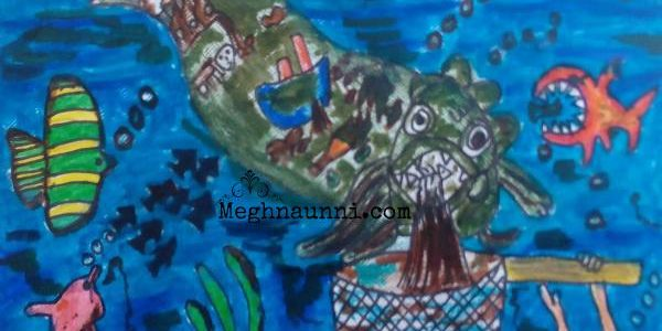 Ocean Pollution | Harmful for Marine Life Drawing
