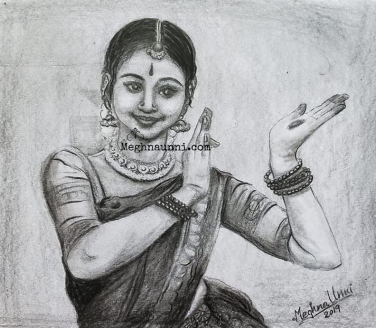 Bharathanatyam Dancer Harinie Jeevitha Pencil Sketch