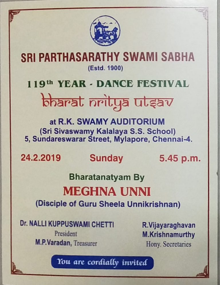 My First Solo Bharathanatyam Performance on Feb 24, 2019 at RK Swamy Hall, Mylapore