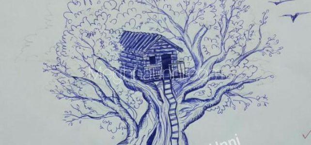Tree Hut Sketch using Blue Ball Pen