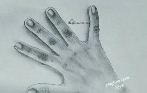 Hand | A Pencil Shading Work for School Art Book