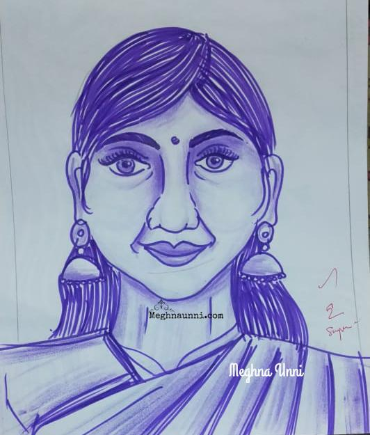 A Sketch Pen Drawing of Lady