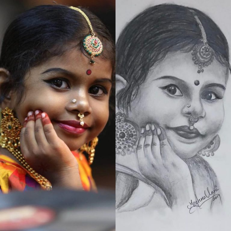 Pencil Sketch of Baby Pranaya Rajesh
