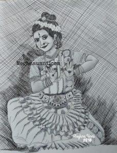 Mohiniyattam Pen Drawing with a tinge of Pencil Shading