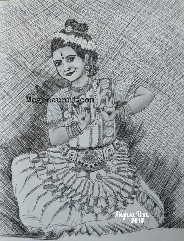 Mohiniyattam Pen Drawing with a tinge of Pencil Shading