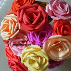 Paper Craft   Rose Flower Using Coloured Paper