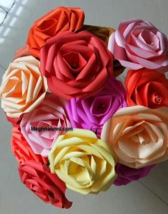 Paper Craft | Rose Flower Using Coloured Paper