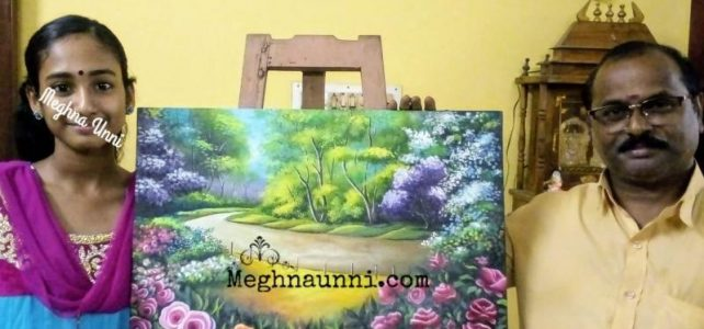 "My 3rd Big Canvas Acrylic Painting – ""Rose Garden"""