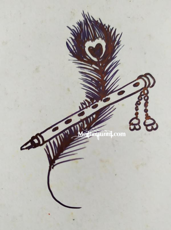 Flute & Peacock Feather Pen Drawing