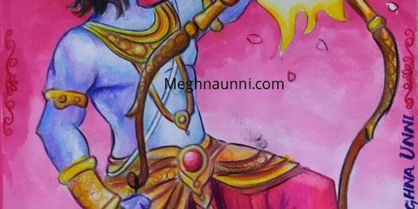 Ramayana Painting – 1 : Sri Rama Breaking Bow to marry Sita