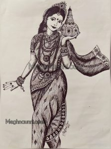 """""""Mohini with Amrutham"""" – Pen Sketch"""