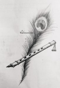 Peacock Feather & Flute Pencil Drawing