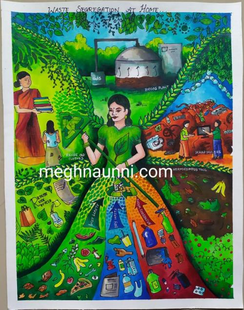 Waste Segregation at Home Painting | Won 1st Prize in Kuppai Matters Painting Competition