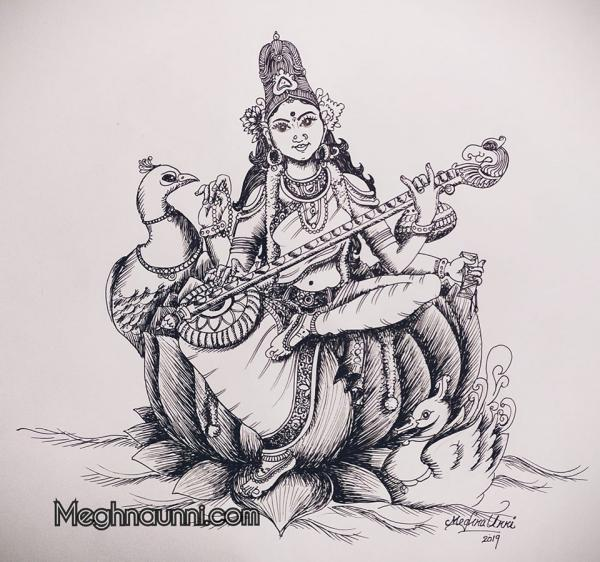 Goddess Saraswathi Pen Drawing Sketch – Happy Saraswati Pooja