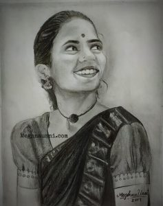 Dancer Kameshweri Ganesan Pencil Sketch