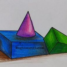 3D Shapes Drawing for 10th Std Art Book