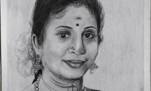 Portrait Sketch of a South Indian Lady