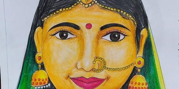 Traditional Indian Dancer Pencil Colour Drawing