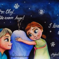 Little Anna and Elsa from Frozen – Holiday Painting 1