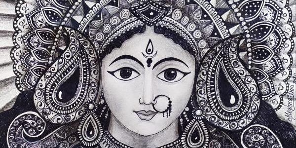 Holiday Drawing – 3 : Goddess Durga Devi Mandala Work