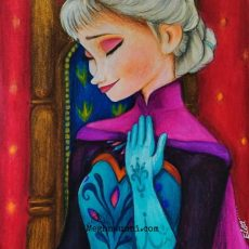 Holiday Work – 7 : 'Queen Elsa of Arendelle on Coronation Day' – Pencil Colours