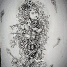 "Happy Vishu 2020 – ""Muralidhara"" Pencil Sketch"