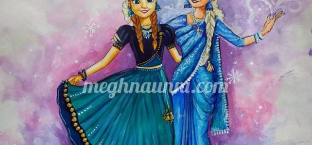 My Version of Anna and Elsa (Frozen) in Indian-wear