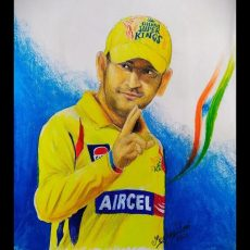 Easy Drawing M.S.Dhoni in CSK Jersey Video | Art With Meghna