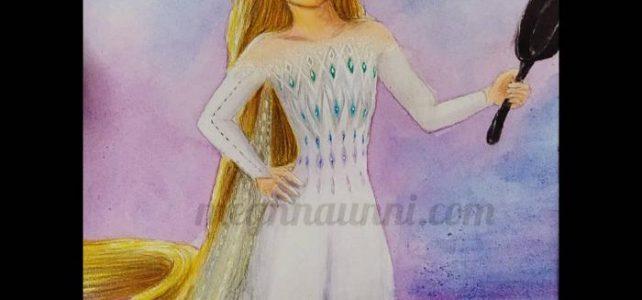 Rapunzelsa | Rapunzel in Elsa's Show Yourself Dress! Pencil / Watercolour Painting
