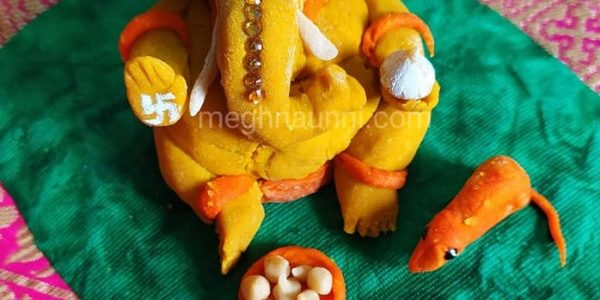 Eco-friendly Haldi Ganesha Idol Made by me