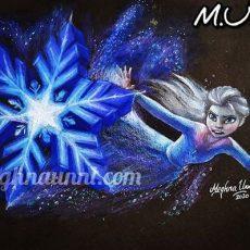 Elsa Battling the Nokk Pencil Color Painting