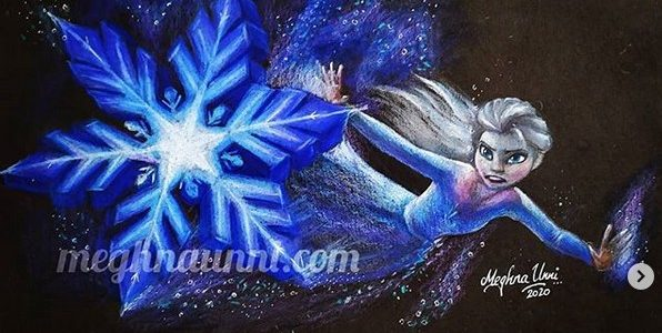 Elsa Battling the Nokk Pencil Color Painting