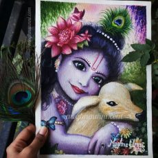 Happy Janmashtami | Baby Krishna Painting in Watercolours