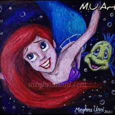 Ariel from 'The Little Mermaid'! – Pencil Color Painting on Black Sheet