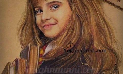 Hermione Granger Pencil Colour Painting on Toned Paper