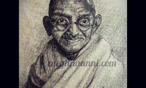 Gandhiji Miniature Pencil Sketch