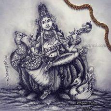 Saraswati Devi Pen Drawing with Pencil Shading