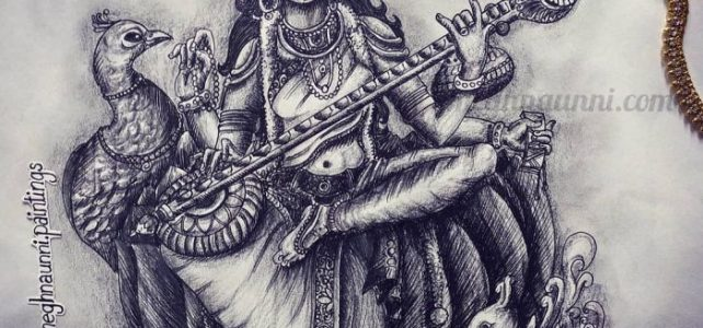 Saraswati Devi Pen Drawing with Pencil Shading
